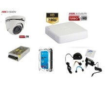 Kit supraveghere video Hikvision Turbo HD 720p cu 1 camera interior